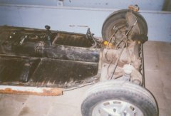 The chassis (front) of the 1972 VW Beetle.