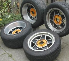 The new wheels (ATS) for the 1972 VW Beetle.