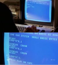 A Commodore C64 computer and a 1702 monitor in the TV series Being Erica.