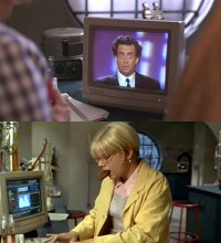 A Commodore 1084 monitor in Kids in the Hall: Brain Candy.