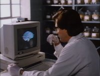 A Commodore Amiga 1000 computer and a 2002 monitor in the movie Brain Dead.