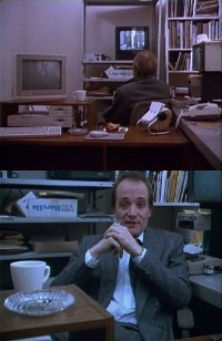 A Commodore C64 and a Amiga 1000 computer, 1541 disk drive and a 2002 monitor in the movie Family Viewing.