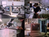 A Commodore Amiga 1000 computer, 1010 disk drive and a 2002 monitor in the movie Food of the Gods II.