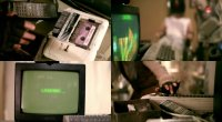 A Commodore C64 computer and a C2N datassette in the movie G.O.R.A.