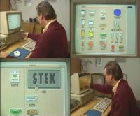 A Commodore Amiga 2000 computer and a 1084 monitor in the TV-show KLM.