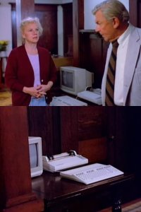 A Commodore C128 computer, 2002 monitor and a MPS-1000 printer in the TV series Matlock.