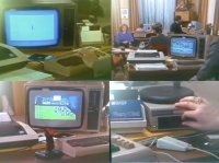 A Commodore C64 computer and a 1541 disk drive in the TV program Pocitacova dilemata.
