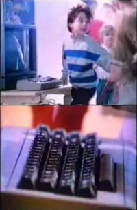 A Commodore C64 computer in the music video Computerbeat by Rheingold.
