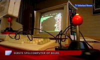 A Commodore C64c computer and a 1901 monitor on the Retro SpelComputer Beurs - TV Gelderland.