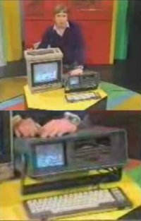 A Commodore C64 and SX-64 in the TV-show Computer Club.