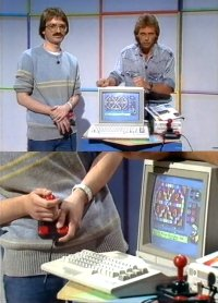 A Commodore C64c computer, 1084 monitor, 1541c disk drive and a Competition Pro joystick in the TV program ZDF Ferienprogramm.